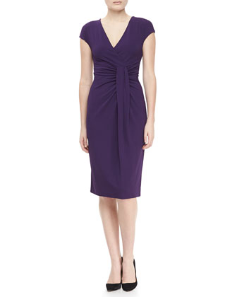 Jersey Faux-Wrap Dress, Blackberry