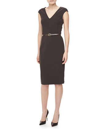 Crepe V-Neck Sheath Dress