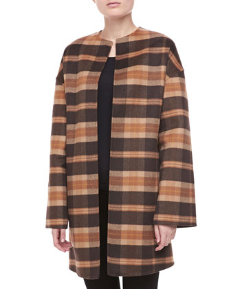 Open-Front Plaid Coat