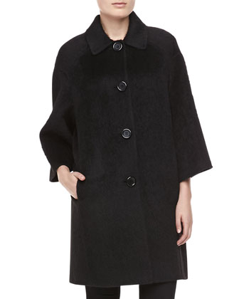 Brushed Wool-Alpaca Coat, Black