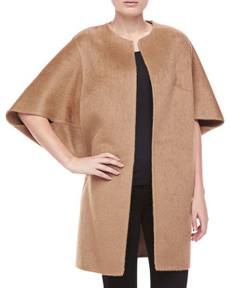 Open-Front Brushed Alpaca & Wool Coat, Fawn