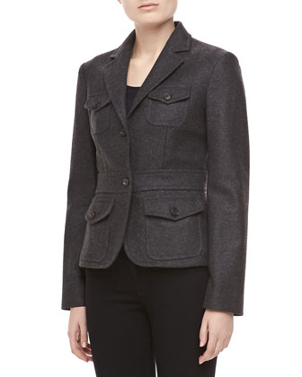 Felted Melange Wool Jacket, Charcoal