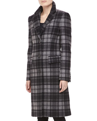 Fairfax Plaid Wool Coat, Black/Banker