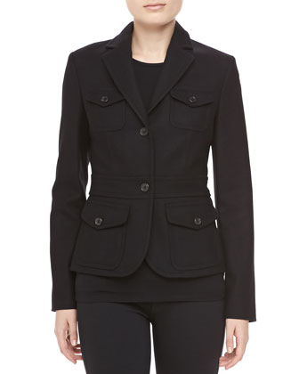 Felted Wool Travel Jacket, Black