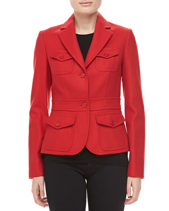 Felted Wool Travel Jacket, Crimson