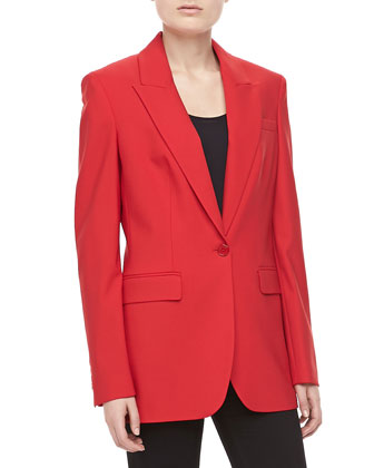 Wool One-Button Blazer, Crimson