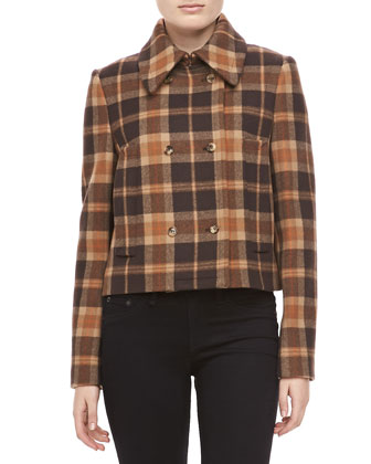 Champlain Plaid Wool Short Coat