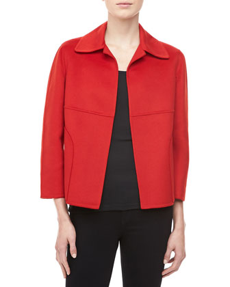Double-Faced Plush Wool-Angora Jacket, Crimson