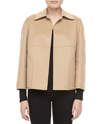 Double-Faced Plush Wool-Angora Jacket, Parchment