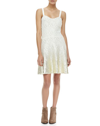 Sleeveless Foil Ombre Lace Dress