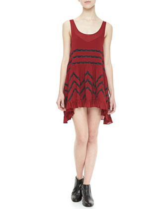 Voile Mix-Stripe Trapeze Dress
