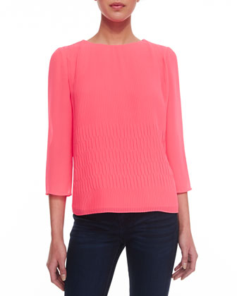 Three-Quarter-Sleeve Pleated Top, Bright Pink