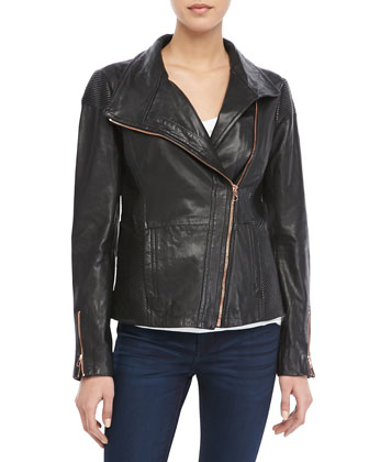 Lahara Leather Zip Jacket