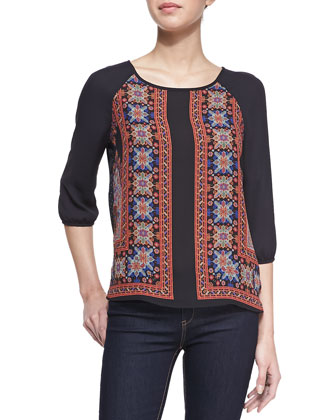 3/4-Sleeve Mixed-Print Blouse