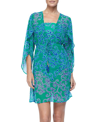 OCEAN SWIRL EMPIRE TUNIC Cover Up