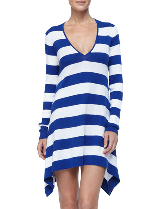 Horizontal Striped Hi-Low Beach Sweater Cover UP