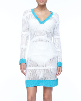 Contrasting Colors Open Weave Sweater Cover Up