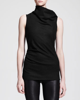 Sonar Wool Asymmetric-Neck Drape Top
