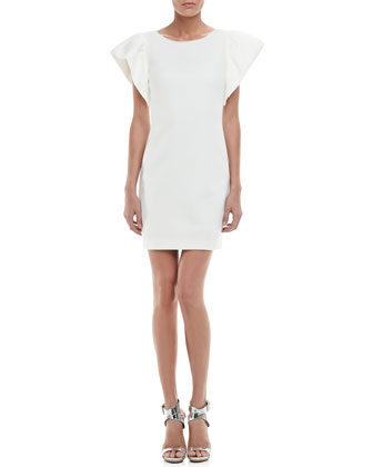 Odele Exaggerated-Sleeve Dress, Whitewash