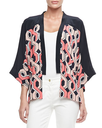 Evangelina Printed Silk Jacket
