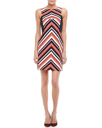 V-Stripe Ponte Dress
