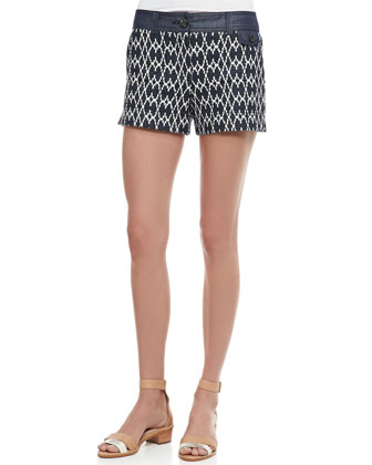 Helma Short-Sleeve Silk Blouse & Santiago Printed Denim Shorts