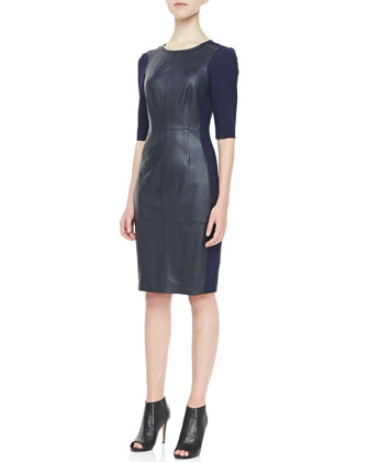 Branice 3/4-Sleeve Leather Dress, Indigo