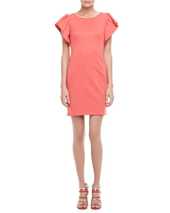 Odele Exaggerated-Sleeve Dress, Hot Coral