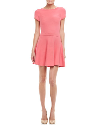 Cozumel Cap-Sleeve Crepe Dress, Hot Coral