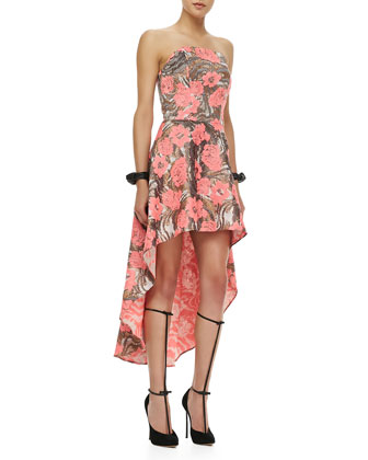 Madame Strapless High-Lo Dress, Metallic Rose