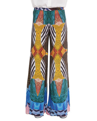 Austria Wide-Leg Tribal-Print Pants