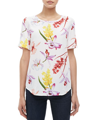 Riley Endangered Floral-Print Silk Tee
