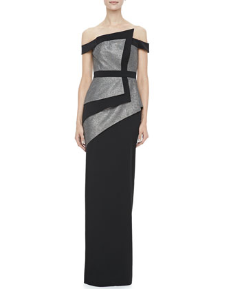 La Reina Colorblock Off-The-Shoulder Gown