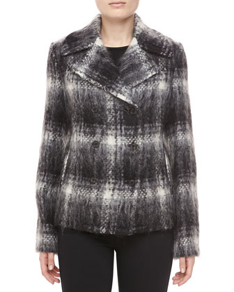 Mohair Plaid Double-Breasted Jacket, Black/Ivory