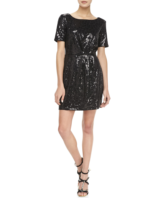 Womens Claudia Short Sleeve Sequined Dress   Ella Moss   Black (XS)