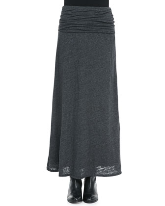 Burnout Ruched-Waist Maxi Skirt