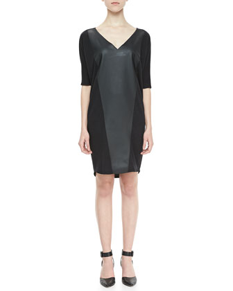 Faux-Leather-Panel Terry Dress