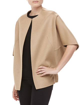 Double-Faced Cape Jacket, Fawn