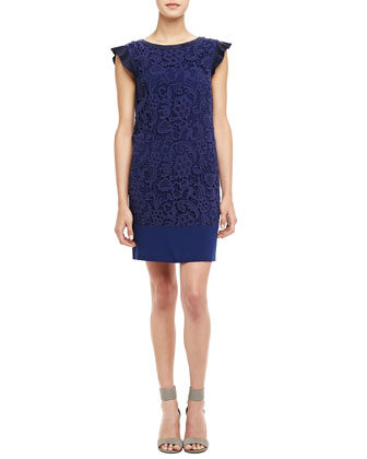 Jamie Cap-Sleeve Lace Dress