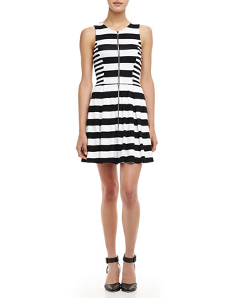Courtney Striped Zip Dress