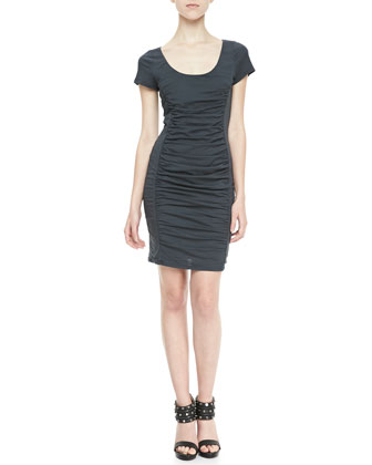 Ruched-Front Scoop Dress
