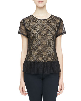 Alyson Lace Peplum Top