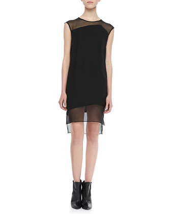 Ziyan Chiffon-Panel Shift Dress