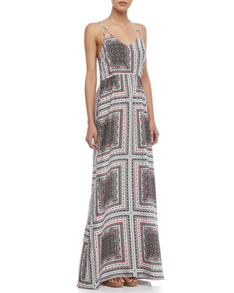 Kisa Scarf-Print Maxi Dress