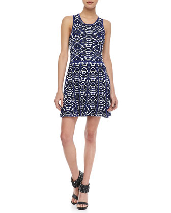 Kaitlyn Printed Fit-and-Flare Dress