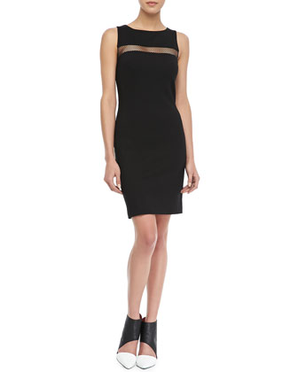 Mesh-Inset Sheath Dress