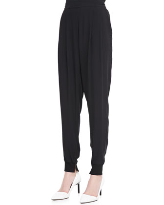 Silk Ankle Pants with Cuffs, Women's
