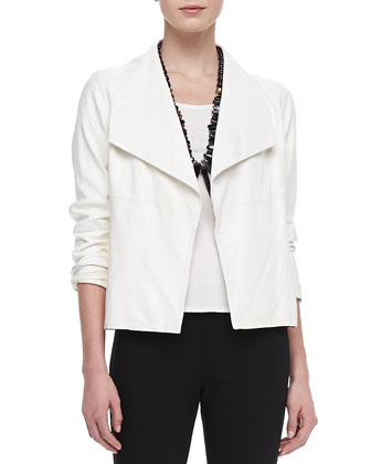 Soft Leather Jacket, Cap-Sleeve Tee & Slim Ponte Pants