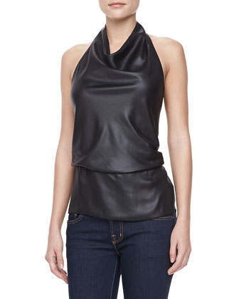 Draped-Neck Halter Top