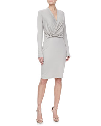 Long Sleeve V Neck Draped Dress, Atmosphere